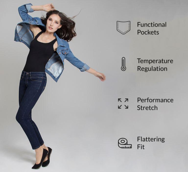 Finalmente un progetto per Jeans da donna che non siano solo belli ma anche al top: tasche profonde ma sottili, elastici, idrorepellenti, termoregolanti e molto altro.