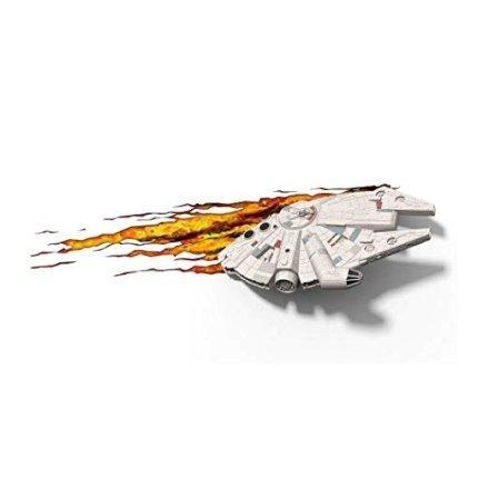 """Direttamente dalla saga di Star Wars un bellissimo adesivo a muro del Millennium Falcon che letteralmente """"esce dal muro"""" e che può essere usato come lampada notturna."""
