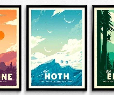 Stupendi poster stile anni '60, ritraenti panorami immaginari ispirati dai fantastici mondi tatro delle epiche avventure dei personaggi di Star Wars. Perfetto regalo per gli amanti del cinema e della saga degli Skywalker.
