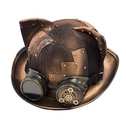 Parliamo di un Cappello Steampunk da donna, un classico cappello indossato dall'aristocrazia inglese nel mondo immaginario della Londra vittoriana Steampunk dei romanzi di Conan Doyle e H. G. Wells . Nel mondo steampunk la tecnologia è guidata principalmente da invenzioni che sfruttano i motori a vapore.