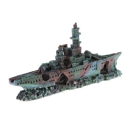 Regala ai pesci del tuo acquario questa stupenda decorazione: rendi originale il tuo acquario con una nave della seconda guerra mondiale affondata! Sembra arrugginita, ma è di resina!