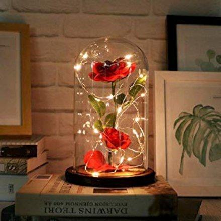 Una elegante teca di vetro che protegge una rosa incantata, è un elegante regalo di San Valentino. Da Kobwa.
